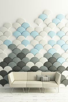 Acoustic wall panels in various colors for modular wall design - The leaf-shaped wall panels accentuate and enhance wall decorating with organic design. The modular pieces can be assembled on the wall in multiple ways, creating unique accent wall design and bringing color into interior decorating.