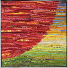 Quilted wall art. 40x40. Red sun. Modern quilt. by AnnBrauer