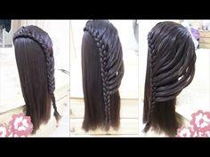 peinados faciles para niña con trenzas para cabello largo - rapidos y bonitos para escuela 2015 - YouTube