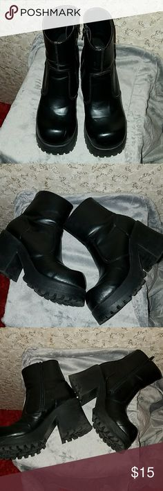 Classified Chunky Heel Zip Up Ankle Boots These are my rock and roll style boots. They have been worn a few times and have a couple of scuffs on the toes as shown in the pics. Otherwise in great condition! Classified Shoes Heeled Boots