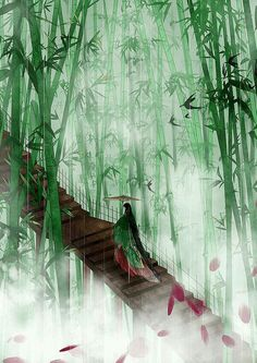 Through the bamboo Chinese art Art Manga, Anime Art, Fantasy Landscape, Fantasy Art, Memes Arte, Art Chinois, Art Asiatique, China Art, Ancient China