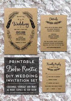 planning a rustic or bohemian inspired wedding customize this printable boho wedding invitation