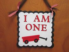 Little Red Wagon I Am One Birthday Door Hanger by DKDeleKtables, $13.00