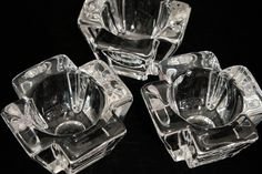 Signed Orrefors Crystal Large Candle Votives  Set of 3 Swedish lead crystal candleholders by Orrefors. Signature etched.