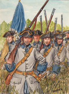 "Régiment Royal Roussillon 1756, by T. Payton.  The regiment was raised at Perpignan in the French province of Roussillon on May 25 1657 by Cardinal Mazarin under the name of ""Catalan-Mazarin"". In 1661, the regiment was renamed ""Royal Catalan"". On January 27, 1667, the regiment was named Royal-Roussillon.   During the Seven Years' War, in 1756, the 1st Battalion was sent to Canada, while the 2nd Battalion remained in Europe."