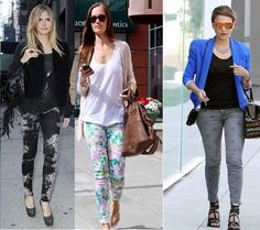 Heidi Klum, Minka Kelly, and Jessica Alba in printed jeans
