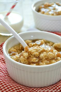 Start your mornings with a warm bowl of Maple and Brown Sugar Oatmeal topped with a maple brown sugar glaze.