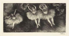 Hilaire‑Germain‑Edgar Degas (French, 1834–1917). Three Ballet Dancers (Trois danseuses). c. 1878–80. Monotype on cream laid paper, plate: 7 13/16 × 16 3/8″ (19.9 × 41.6 cm). Sterling and Francine Clark Art Institute, Williamstown, Massachusetts, 1955.1386