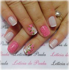 Perfect Nails, Gorgeous Nails, Love Nails, Fun Nails, Pretty Nails, Nail Manicure, Nail Polish, Floral Nail Art, Short Nail Designs