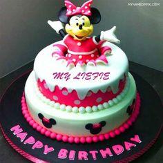 Write Name Kids Birthday Wishes Mickey Cake Image Happy Photo
