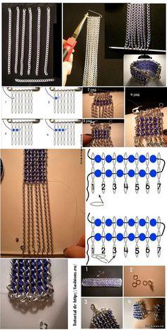 diy cadenas y abalorios (chains and beads[Spanish]) Wire Jewelry, Beaded Jewelry, Handmade Jewelry, Beaded Bracelets, Jewellery, Jewelry Making Tutorials, Beading Tutorials, Jewelry Patterns, Beading Patterns