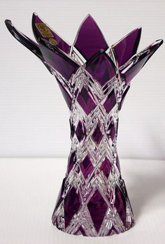 Love the violet color and style of this Caesar Crystal Harlequin Vase, imported Bohemian glass Purple Love, All Things Purple, Purple Glass, Shades Of Purple, Purple Stuff, Crystal Glassware, Crystal Vase, Art Of Glass, Cut Glass