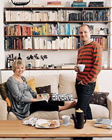 Designer Lotta Anderson's Brooklyn apartment and nearby office uses the same motifs that decorate her Lotta Jansdotter textiles and ceramics: sublimely subtle hues, quirky organic shapes, and a casual comfort that gives even up-to-the-moment modern an intimate ease.    fun idea