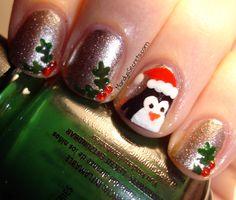 Santa Penguin Holly Christmas Nails
