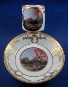 Rare 18thC Naples, Real Fabbrica Ferdinandea, Porcelain Cup &Saucer, eruption of Vesuvius _BM