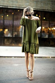 Date Night Look - olive green off the shoulder dress on Damsel in Dior