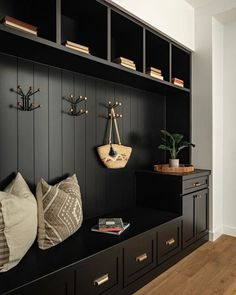 Looking back at and loving this mudroom we did! Black on black with hints of brass one of my favorite combos. Mudroom Laundry Room, Mudroom Cabinets, Drop Zone, Deco Design, Entryway Decor, Sweet Home, New Homes, House Design, Interior Design