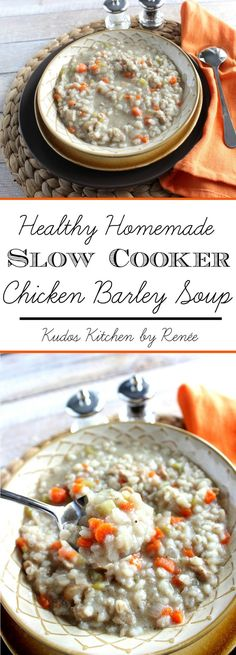 Healthy Homemade Chicken Barley Soup is a light and delicious slow cooker soup that is easy to assemble in the morning, and then have a hearty, healthy family dinner at the end of a long winter's day. - Kudos Kitchen by Renee