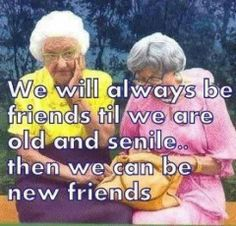 We will always be friends until we are old and senile - then we can be new friends!