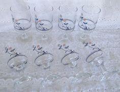 Libbey Pfaltzgraff Windsong Stemware Goblets Glass 10 Oz Blue Pink Floral #Libbey #Pfaltzgraff