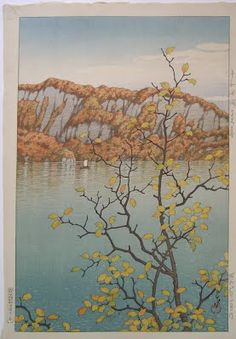Kawase Hasui - Senjo Cliff, Lake Towada, 1933. Woodblock print from the Lavenberg Collection of Japanese Prints.