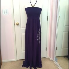 Navy blue maxi dress! •Navy blue bedazzled maxi dress!                                                                •Can be worn as halter top or strapless!             •Stretchy and flowy!                                               •Fitted on the bust!                                               •Tag says XL however, it fits more like a Medium!                                                            •Inquiry and offers appreciated! Cristina Love Dresses Maxi