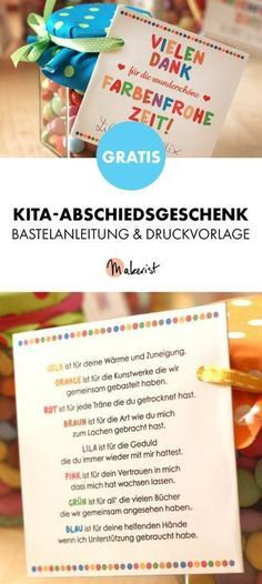 Gratis Anleitung: Abschiedsgeschenk für Erzieher - Bastelanleitung via Makerist.de You are in the right place about DIY Anniversary gifts Here we offer you the most beautiful pictures about the DIY An