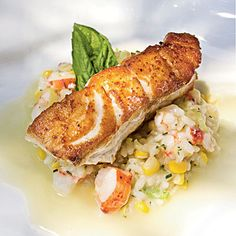 Roasted Grouper with Seafood Risotto and Champagne Citrus Beurre Blanc | Coastalliving.com