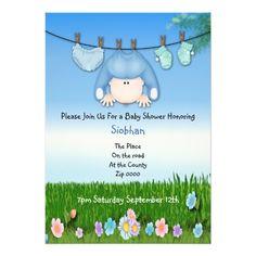 Cute Funny Washing Line Baby Boy Shower Custom Invitations
