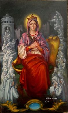"""St Demiana & the 40 Virgins is an Egyptian martyr of the early 4th cent. Demiana saw the soldiers approaching,& prayed to God to strengthen their faith. She told her 40 friends: """"If you are willing to die for Jesus' sake then you may stay,but if you cannot withstand the torments of the soldiers then hurry & escape now."""" The 40 virgins replied, """"We will die with you."""" She was placed in the squeezing press ...an angel of the Lord appeared to her, touched her body & was healed of all her…"""