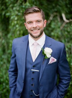 Groom in Reiss Three Piece Navy Suit - Julie Michaelsen Photography | Classic Wedding at Fetcham Park, Grade II Listed House in Surrey | Bride in Enzoani Wedding Dress | Bridesmaids in Bespoke Pink Floral ASOS Dresses | Groomsmen in Navy Reiss & Ted Baker Suits