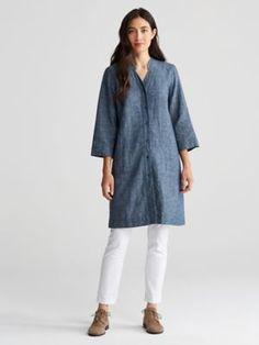 Mandarin V-Neck Dress in Hemp and Organic Cotton Chambray-R6HCC-D3957