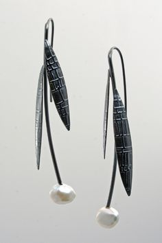 """Midnight Prairie"" earrings by Syndey Lynch Jewelry: oxidized silver, keshi pearls. 2 5/8 inches long. $155"
