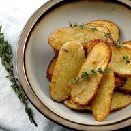 Salt + vinegar roasted potato slices. To be gluten free read the ingredients when purchasing your vinegar- most are gluten free but not all. I use Heinz Distilled White Vinegar. If you are serving to those that might not care for the vinegar, leave it out and prepare the potatoes just as the recipe states. This is a great healthy way to make some finger potatoes!
