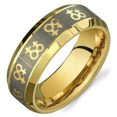 New! Gold Female Symbols Lesbian Pride Ring - Gold Stainless Steel Design