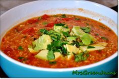 Spicy Mexican Quinoa Soup by Mrs. Green Jeans   http://mrsbgreenjeans.blogspot.com/2012/04/spicy-mexican-quinoa-soup.html