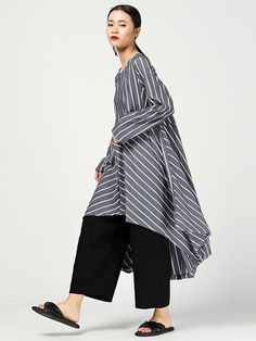 Loose Striped Split-joint High-low Original Dress – moongor Midi Shirt Dress, Blouse And Skirt, V Neck Dress, Cotton Long Dress, Blue Overalls, Dresses With Sleeves, Midi Dresses, Loose Shirts, Cotton Style