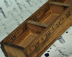 over 10 inch long vintage wooden organizer...  wooden rulers... from an estate sale... display shelf...  Home Decor... Jun 04 K