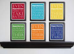 "Hmm a superhero theme, huh?  ""Nursery art print Superhero Manners by FitToPrintDesigns on Etsy"""