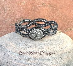 Black Silver Leather Wrap Cuff Bracelet  The by BarbSmithDesigns