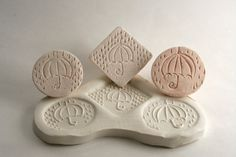 Umbrella with Raindrops -- Square Clay Stamp -- Handmade Bisque Tool for Pottery Ceramics Polymer Clay
