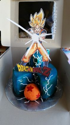 Easy Dragon Ball Z cake made with buttercream icing and airbrushed with royal blue and green. The ball is covered in orange fondant and handpainted stars. The character and sign are printed on cardstock paper and glued to a lollipop stick.