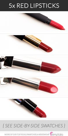 5 Beautiful High-End Red Lipsticks - 1. Bite Beauty Fraise — a brightened, but not too bold, red with a matte finish 2. Estee Lauder Vengeful Red — a bold, bright red with a satin finish 3. Guerlain Greta — a rich ruby red 4. Guerlain Garcone — a deepened red with a luminous finish 5. Buxom Scoundrel — a bright, blue-based red