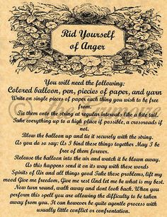 Rid Yourself of Anger, Book of Shadows Spell Page, Witchcraft, Wicca, Pagan, BOS
