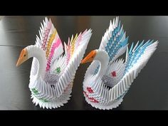 origami swan tutorial step by step. This is a video about how to make origami Swan , for this origami swan model I use normal colored printer paper . Origami Swan, Origami Paper Art, Origami Butterfly, Diy Paper, Paper Crafts, Iris Paper Folding, Origami Folding, Origami Easy, 3d Origami Schwan