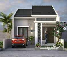 2 Bedrooms Home design Plan - Home Ideassearch Simple House Design, House Front Design, Minimalist House Design, Minimalist Home, Modern House Design, Two Storey House Plans, Small House Floor Plans, Small Apartment Plans, Dream House Exterior