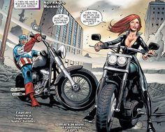 Captain America on a Fat Boy & Black Widow on a Fat Bob!