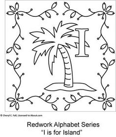 Free Redwork Alphabet Patterns H through N - Redwork Alphabet Embroidery Series Part 2, Page 3