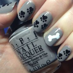 Gray Black & White Puppy nails  Nails To Die For