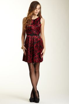 Cynthia Steffe Sleeveless Pleated Floral Print Dress